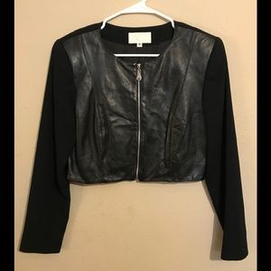 Cache Black Leather and Wool JACKET BLAZER Sz 6